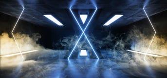 Azul de incandescência vazio concreto de Hall Corridor Fluorescent Luxurious Luminous do Grunge reflexivo futurista estrangeiro d ilustração do vetor