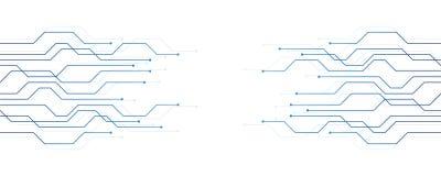Azul de la bandera de la tecnología digital de la electrónica de la placa de circuito ilustración del vector