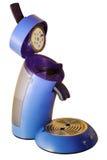 Azul de la cápsula de la máquina de café express aislado Fotografía de archivo libre de regalías