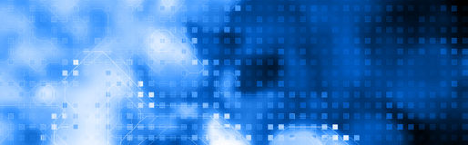 Azul de la cabecera del Web de la tecnología stock de ilustración