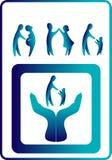 Azul de la colección de los iconos de la familia en figuras simples Imagen de archivo libre de regalías