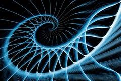 Azul de la escalera espiral en negro Imágenes de archivo libres de regalías