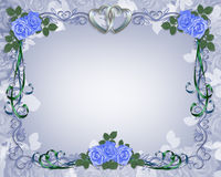 Azul de la frontera de la invitación de la boda Foto de archivo