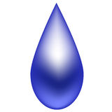 Azul de la gota de agua en un fondo blanco Imagen de archivo libre de regalías