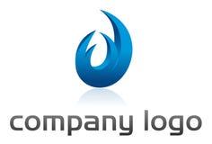 Azul de la insignia del vector de la llama imagen de archivo libre de regalías