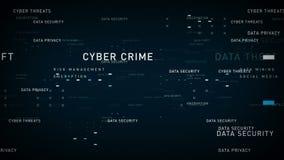 Azul de la seguridad de datos de las palabras claves stock de ilustración