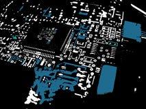 Azul de la tarjeta de circuitos de Grunge stock de ilustración