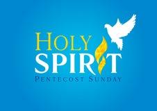 Azul de la tarjeta de la llama de la paloma del Espíritu Santo ilustración del vector