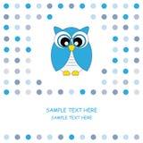 Azul de la tarjeta del buho Foto de archivo libre de regalías