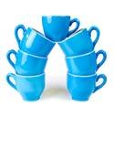 Azul de la taza de café Fotografía de archivo