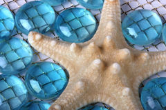 Azul de las estrellas de mar con los granos de cristal Foto de archivo libre de regalías