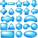 Azul de los botones de los iconos, sistema Imagenes de archivo