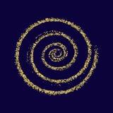 Azul de oro de la textura del Año Nuevo del extracto del vector del círculo del brillo del oro Foto de archivo libre de regalías