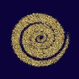 Azul de oro de la textura del Año Nuevo del extracto del vector del círculo del brillo del oro Imagen de archivo