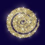 Azul de oro de la textura del Año Nuevo del extracto del vector del círculo del brillo del oro Imágenes de archivo libres de regalías