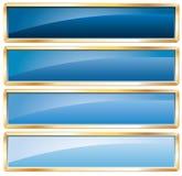 Azul de oro del marco Foto de archivo libre de regalías