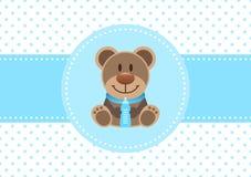 Azul de Teddy And Bottle Dots Background del muchacho de la tarjeta del bebé stock de ilustración