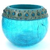Azul de turquesa Crackled Votive Imagens de Stock Royalty Free