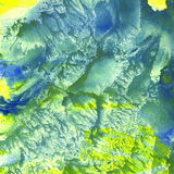 Azul del amarillo de la textura del fondo del monotipo de la acuarela Fotografía de archivo libre de regalías