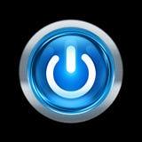 Azul del botón de encendido con el ribete metálico Fotografía de archivo