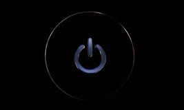 Azul del botón de encendido, en negro foto de archivo
