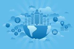 Azul del concepto Global Company ilustración del vector