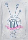 Azul del día de tarjetas del día de San Valentín del cartel. Foto de archivo