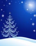 Azul del fondo de la tarjeta de Navidad Imágenes de archivo libres de regalías