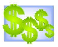 Azul del fondo de las muestras de dólar Fotos de archivo libres de regalías