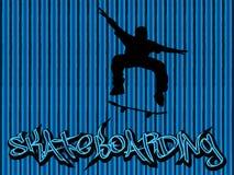 Azul del fondo del patinador Fotografía de archivo