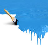 Azul del goteo de la pintura de la brocha Foto de archivo libre de regalías