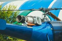 Azul del helicóptero Cuchillas visibles y de turbina Foto de archivo libre de regalías