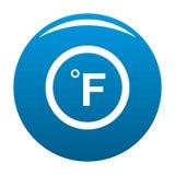 Azul del icono de Fahrenheit ilustración del vector