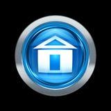 Azul del icono de la casa con el ribete metálico Fotografía de archivo