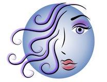 Azul del icono de la insignia del Web de la cara de la mujer Fotografía de archivo libre de regalías