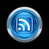 Azul del icono de WIFI con el ribete metálico Fotografía de archivo libre de regalías