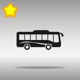 Azul del icono del autobús en un fondo gris Foto de archivo