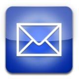 Azul del icono del email Fotografía de archivo