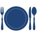 Azul del icono del menú del restaurante Fotos de archivo libres de regalías