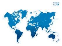 Azul del mapa del mundo Fotografía de archivo libre de regalías