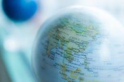 Azul del mapa del mundo   tecnología de la ciencia