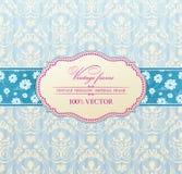 Azul del marco de la flor de la escritura de la etiqueta de la vendimia de la invitación Imagen de archivo