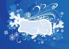 Azul del marco de la Navidad del vector Foto de archivo libre de regalías