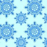 Azul del modelo de la mandala del copo de nieve Imagenes de archivo