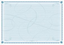 Azul del modelo del certificado Imágenes de archivo libres de regalías