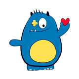 Azul del monstruo del amor de la tarjeta del día de San Valentín con el corazón rojo Ilustración aislada Fotos de archivo libres de regalías