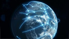 Azul del negocio global y de la red de comunicaciones stock de ilustración