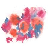 Azul del rosa del chapoteo del extracto de la acuarela el descenso de la acuarela aisló la mancha blanca /negra para su arte del  Fotografía de archivo