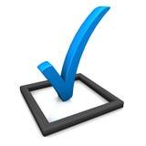 Azul del símbolo de la lista de verificación Foto de archivo libre de regalías