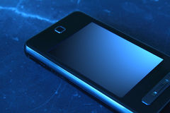 Azul del teléfono celular iluminado Foto de archivo libre de regalías